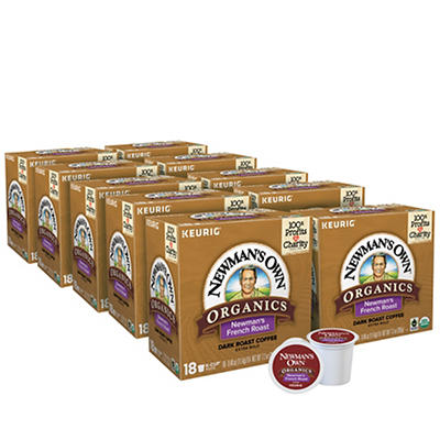 Newman's Own Organics French Roast Dark Roast Coffee Keurig Single-Serve K-Cup Pods, ,10 pk./18 ct.