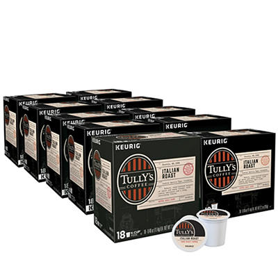 Tully's Coffee Italian Roast Dark Roast Coffee Keurig Single-Serve K-Cup Pods, 10 pk./18 ct.