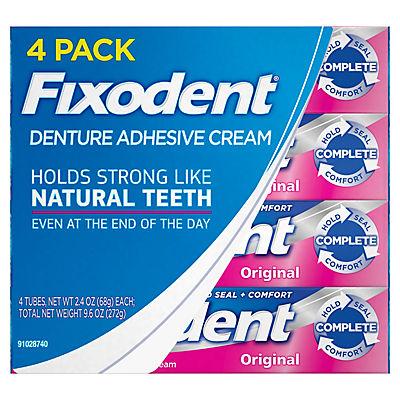 Fixodent Complete Original Denture Adhesive Cream, 4 pk./2.4 oz.