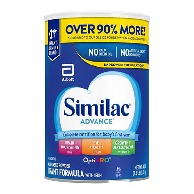 Similac Advance Infant Formula with Iron Powder, 40 oz.