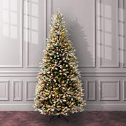 "National Tree 7'6"" Pre-Lit Dunhill Fir Slim Hinged Tree with Snow, Red Berries and Cones"