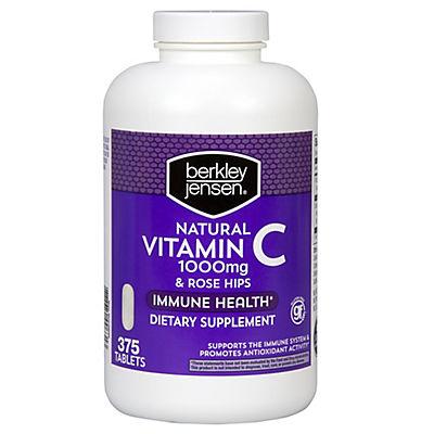 Berkley Jensen Vitamin C 1000mg with Natural Rose Hips Tablets, 375 ct