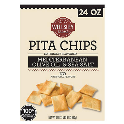 Wellsley Farms Mediterranean Olive Oil and Sea Salt Pita Chip, 24 oz.