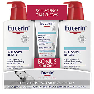 Eucerin Intensive Repair Lotion, 2 pk./21 fl. oz. with Bonus Hand Crem