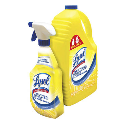Lysol Lemon All Purpose Cleaner, 32 oz. Spray Bottle with 144 oz. Refi