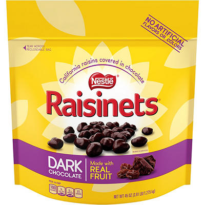Nestle Raisinets Dark Chocolate Stand-Up Bag, 45 oz.