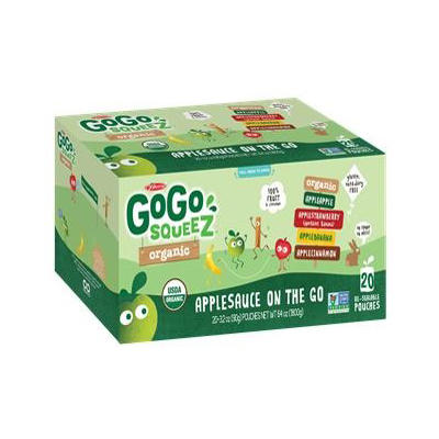 GoGo SqueeZ Organic Applesauce Variety Pack, 20 ct./3.2 oz.