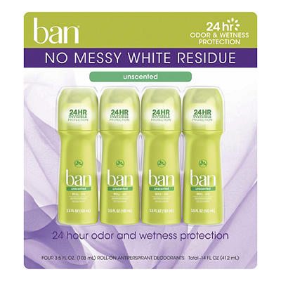 Ban Unscented Roll-On, 4 ct./3.5 oz.
