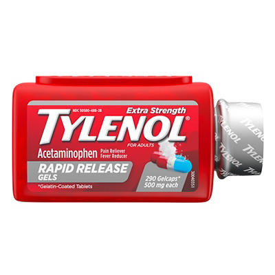 Tylenol Rapid Release Gels, Fever Reducer and Pain Reliever, 500 mg, 2