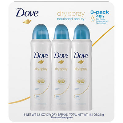 Dove Nourished Beauty Antiperspirant Dry Spray, 3 pk./3.8 oz.