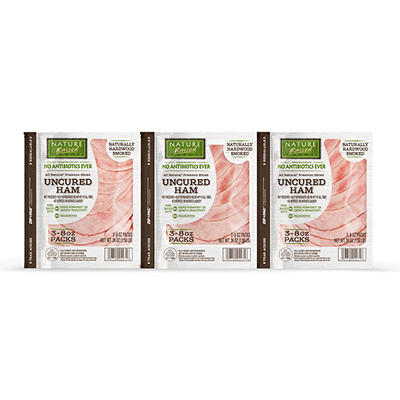 Nature Raised Farms Uncured Sliced Ham, 3 pk./8 oz.