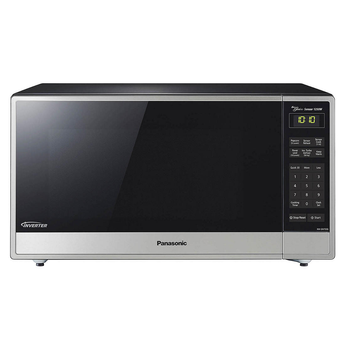 Panasonic 1 6 Cu Ft 250w Microwave With Genius Inverter Technology Stainless Steel Black