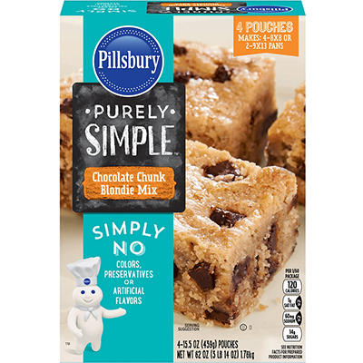 Pillsbury Purely Simple Chocolate Chunk Blondie Mix, 4 ct./15.5 oz.
