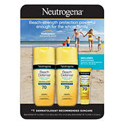 Neutrogena Beach Defense Body Spray Sunscreen Broad Spectrum SPF 70, 2 pk./6.5 oz. with Bonus 1 oz. Ultra Sheer SPF 55 Bottle