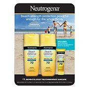 Neutrogena Beach Defense Body Spray Sunscreen Broad Spectrum SPF 70, 2 pk./6.5 oz. with Bonus 1 oz. Ultra Sheer SPF 55 Bottle