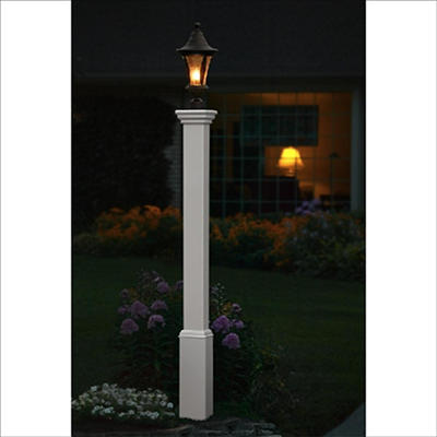 New England Arbors Lethbridge Lamp Post - White
