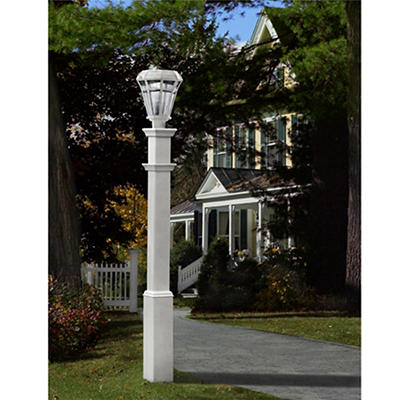 New England Arbors Lakeland Lamp Post - White