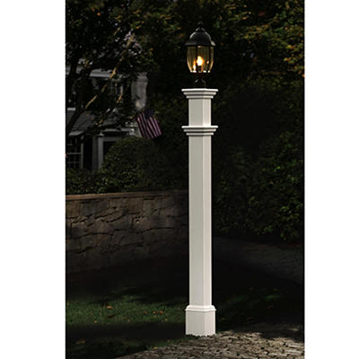 New England Arbors Langford Lamp Post - White