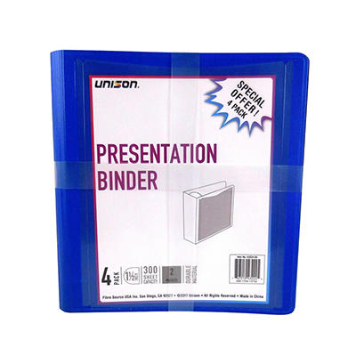 """Unison 1.5"""" D-Ring View Binder, 4 pk. - Assorted"""