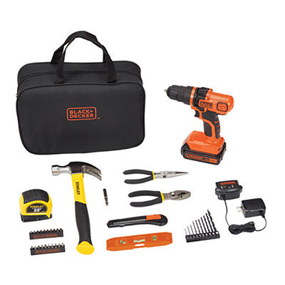 Black & Decker 20V Lithium Drill with LED Flashlight - Orange/Black