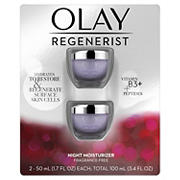 Olay Regenerist Night Recovery Cream Face Moisturizer, Fragrance-Free, 2 pk./1.7 oz.