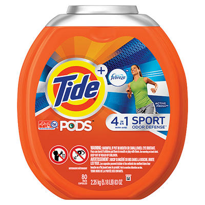 Tide PODS Plus Febreze Odor Defense Laundry Detergent Pacs, Active Fre