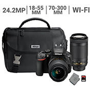 Nikon D5600 24.2MP CMOS Wi-Fi DSLR Camera Bundle