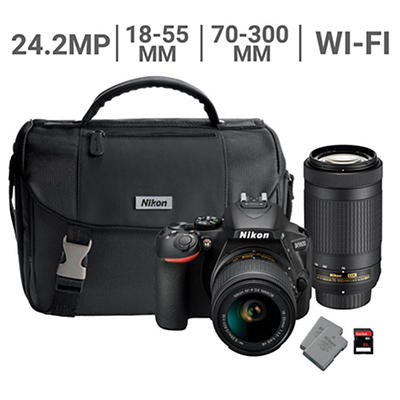 Nikon D5600 24.2MP CMOS Wi-Fi DSLR Camera with 18-55mm VR and 70-300mm