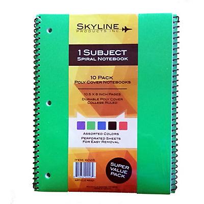Skyline 1-Subject Spiral Notebook, 10 pk. - Assorted