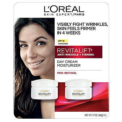 L'Oreal  RevitaLift Anti-Wrinkle + Firming Cream SPF 18, 2 pk./3.4 oz.