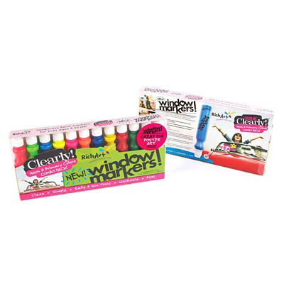 Rich Art Color Me Clearly Window Markers, 12 ct. - Neon and Primary Colors