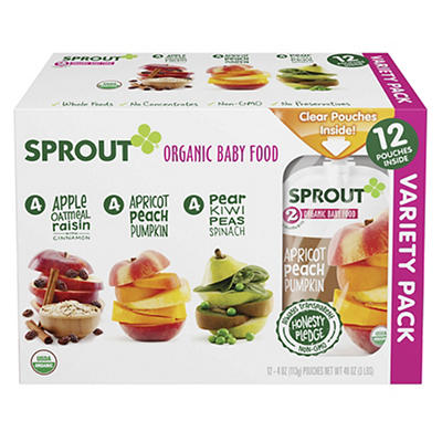 Sprout Organic Baby Food Variety Pack, 12 ct./4 oz.