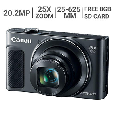 Canon PowerShot SX620 HS 20.2MP 25x Optical Zoom Camera with 8GB SD Card and Case - Black