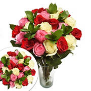 Two Dozen Red, White and Pink Colors of Happiness Roses Bouquet