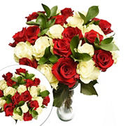 Two Dozen Red and White Roses Bouquet