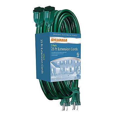 Sylvania 25' Extension Cords, 2 pk.