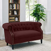 Handy Living Chesterfield Loveseat - Red Velvet