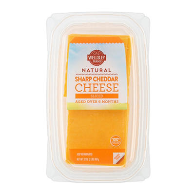 Wellsley Farms Sliced Sharp Cheddar Cheese, 2 lbs.