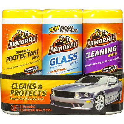 Armor All Protectant, Cleaning and Glass Wipes, 3 pk.