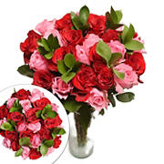 Two Dozen Red and Pink Roses Bouquet