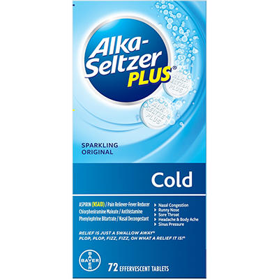 Alka-Seltzer Plus Cold Effervescent Tablets, 72 ct.