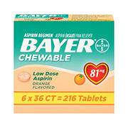 Bayer Aspirin Regimen Chewable Orange Flavored Aspirin, 216 ct.