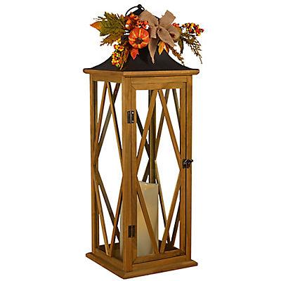 MFA Gifts Harvest Wood Lantern with LED Pillar Candle