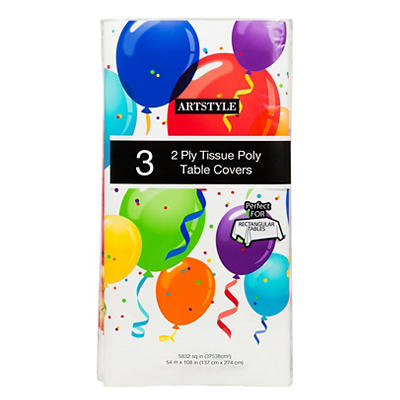 "Artstyle 54"" x 108"" Table Covers, 3 ct. - Birthday Balloon"