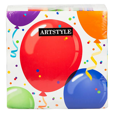 """Artstyle 13"""" Napkins, 120 ct. - Birthday Balloon"""