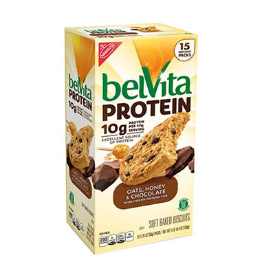 Belvita Protein Oats, Honey & Chocolate, 15 ct.