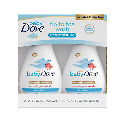 Baby Dove Rich Moisture Tip to Toe Wash, 2 ct./20 oz.