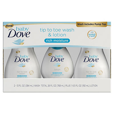 Baby Dove Rich Moisture Tip to Toe Wash, 2 ct./13 oz. and Lotion, 6.5