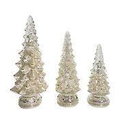 Berkley Jensen 3-Pc. Glass Christmas Tree Set with LED Lights