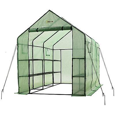 Ogrow Walk-in 2-Tier 12-Shelf Portable Garden Greenhouse with Windows